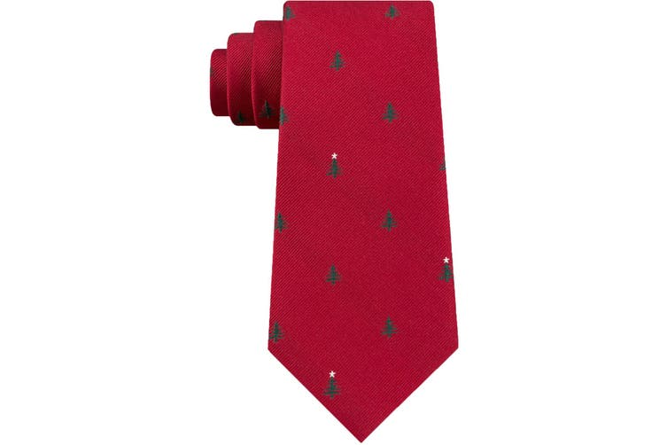 Tommy Hilfiger Men's Neck Tie Red One Size Holiday Woven Tree Silk