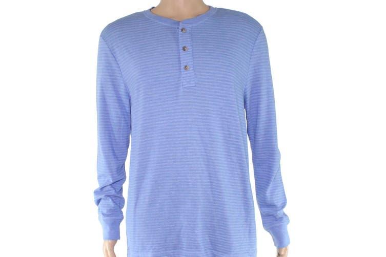 Club Room Mens Shirt Surf Blue Size 2XL Long Sleeve Striped Henley