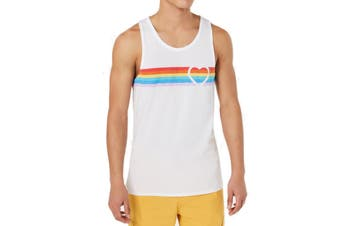 American Rag Mens Tank Top White Size 2XL Pride Rainbow Heart Striped #084