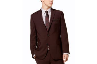 Bar III Mens Blazer Wine Red Size 34 Short Slim Fit Two Button Wool