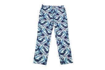 Club Room Mens Pants Blue Size 34X32 Leaf Print Straight Leg Stretch