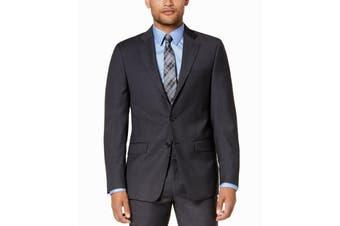 Calvin Klein Mens Blazer Gray Size 40 Long Two Button Wool Slim Fit