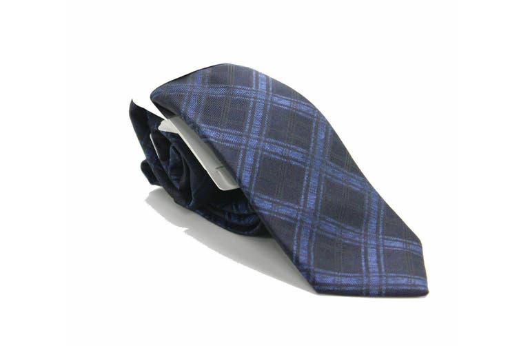 Ryan Seacrest Distinction Men's Navy Blue Pienza Plaid Neck Tie Silk