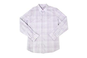Tasso Elba Mens Dress Shirt Purple Size 17-17 1/2 Giloumo Sateen Plaid