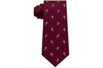 Tommy Hilfiger Men's Burgundy Red Skiiing Woven Slim Neck Tie Silk