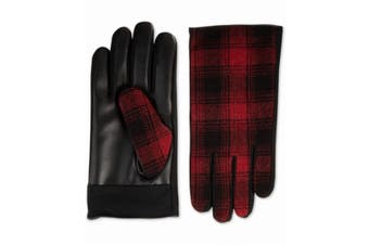Isotoner Men's Driving Gloves Black Red Size XL Plaid Faux Leather