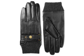Isotoner Men's Driving Gloves Black Size Large L Leather Snap Cuff