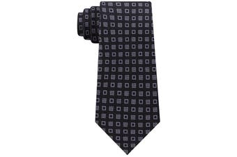 Michael Kors Men's Black Halo Square Neat Skinny Slim Neck Tie Silk