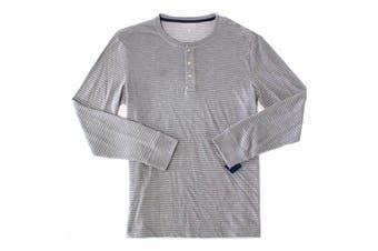 Club Room Men Shirt White Size XL Stripe Crewneck Long Sleeve Henley