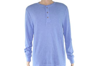 Club Room Mens Shirt Surf Blue Size 2XL Long Sleeve Striped Henley