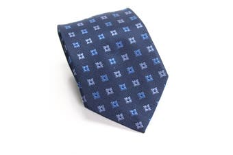 Botany 500 Men's Navy Blue Geometric Print Skinny Slim Neck Tie