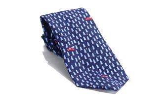 Tommy Hilfiger Men's Navy Blue Conversation Tree Pick Up Neck Tie Silk