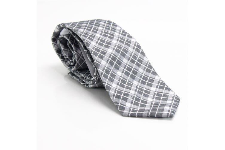 Calvin Klein Men's White Gray Check Plaid Classic Slim Neck Tie Silk