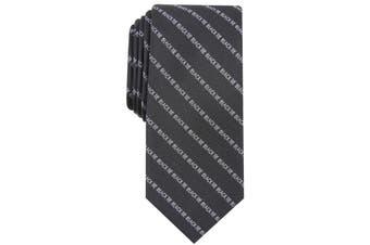 Bar III Men Black Slim Striped Skinny Black-Tie Neck Tie Silk Accessory