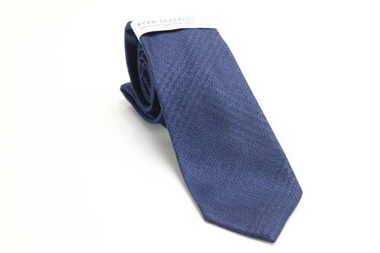 Ryan Seacrest Distinction Men's Navy Blue Ruben Solid Neck Tie Silk