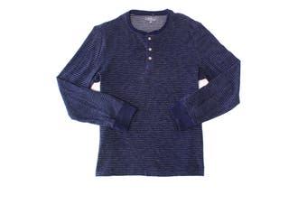 Club Room Men Shirt Blue Size XL Stripe Print Long Sleeve Henley