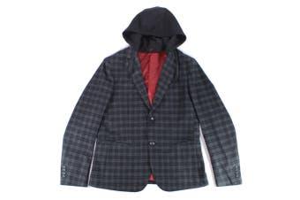 Armani Exchange Mens Jacket Black Size 42R Hooded Plaid Blazer