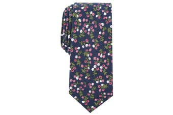 Bar III Men's Neck Tie Blue Floral Blossoms Bellaire Slim Skinny