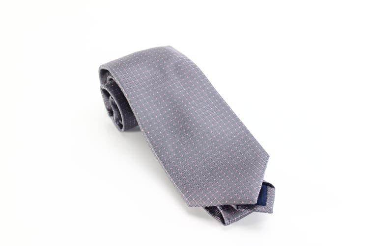 Michael Kors Men's Pink Gray Tonal Squares Skinny Slim Neck Tie Silk