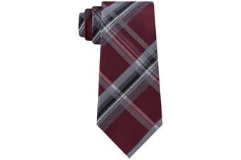 Kenneth Cole Reactio Men's Red Vermont Plaid Classic Neck Tie Silk