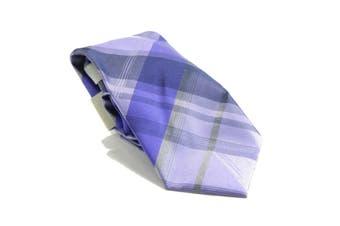 Kenneth Cole Reaction Men's Purple Gray Layer Grid Neck Tie Silk