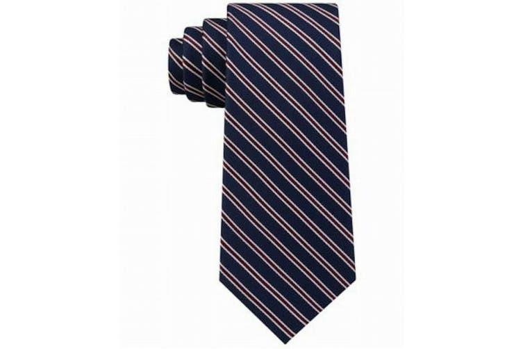 Tommy Hilfiger Men's Navy Blue Red Tricolor Striped Slim Neck Tie Silk