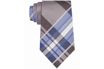 Kenneth Cole Reaction Men's Gray Blue Plaid Slim Skinny Neck Tie Silk