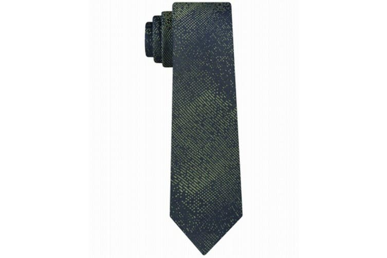 Calvin Klein Men's Green Unsolid Digital Graphic Skinny Neck Tie Silk