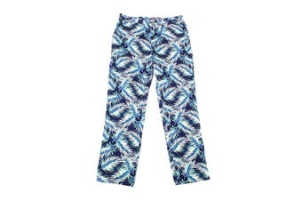 Club Room Mens Pants Blue Size 34X30 Palm Leaf Regular-Fit Stretch