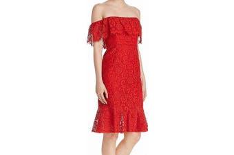 BCBGMAXAZRIA Women's Dress Red Size 4 Off Shoulder Laced Ruffle Sheath