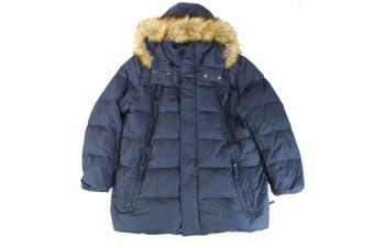 Andrew Marc Women's Coat Navy Blue Size XL Puffer Faux-Fur-Trim
