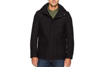 Cole Haan Mens Coat Black Size Medium M Water Repellant Wool Blend