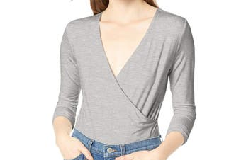J.Crew Mercantile Women's Top Gray Small S V neck Bodysuit Faux-Wrap