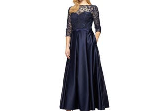 Alex Evenings Women's Dress Navy Blue Size 14 Gown Lace Embellished