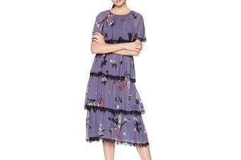 Avec Les Filles Women's Dress Purple Size 6 Sheath Tiered Floral