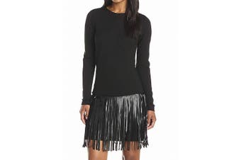 Amanda Uprichard Women's Dress Black Size XS Sheath Colt Fringe