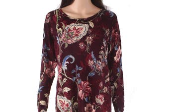 Chico's Women's Knit Top Red Size Medium M Floral Printed Button-Sleeve