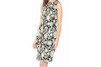 Carmen Marc Valvo Women's Dress Black Size 6 Sheath Floral Embroidered