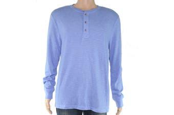 Club Room Men Shirt Baby Blue Size XL Long Sleeve Striped Henley