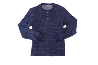 Club Room Mens Shirt Navy Blue Size Large L Striped Long Sleeve Henley