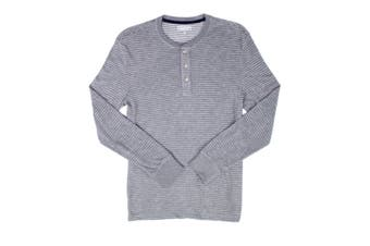 Club Room Mens Shirt Light Gray White Size XL Striped Knit Henley