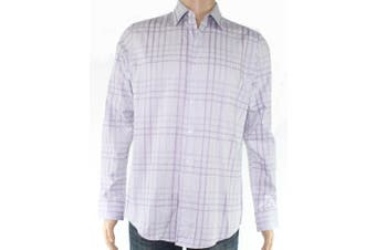 Tasso Elba Mens Shirt Purple 16-16 1/2 Giloumo Plaid Button Down