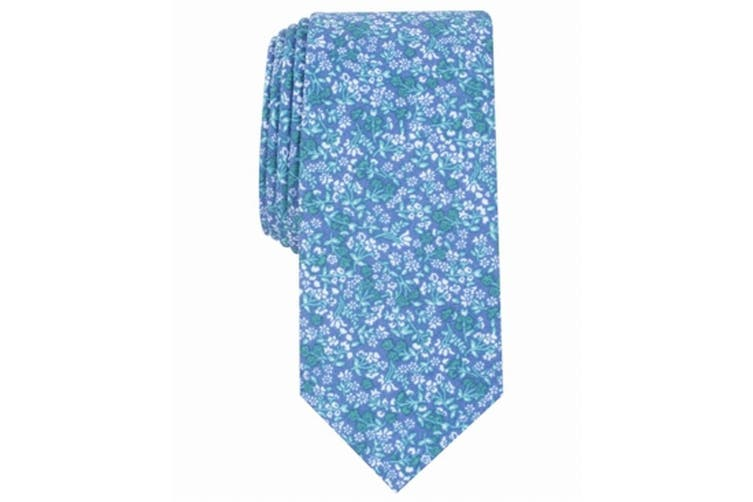 Bar III Men's Blue Green Neck Tie Garden Vivid Floral Print Skinny