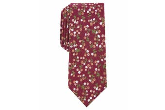 Bar III Red Bellaire Slim Floral Print Skinny Neck Tie Cotton Accessory