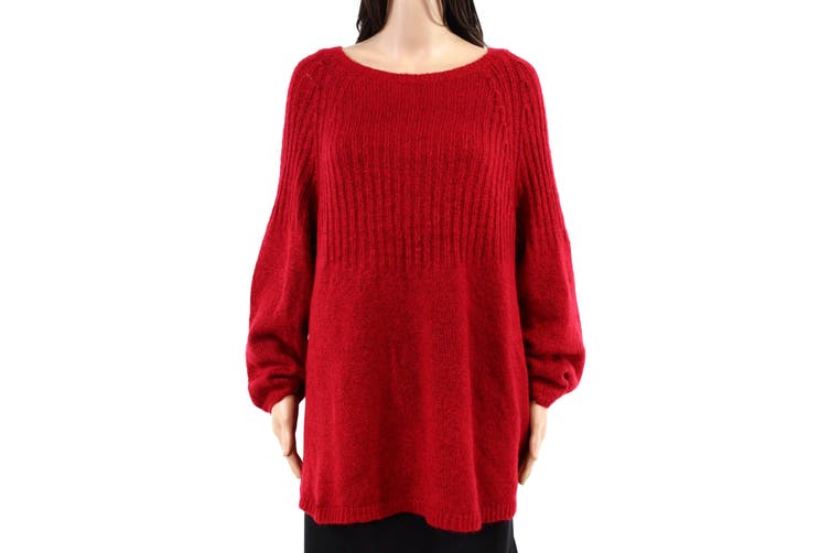 Style & Co Women's Sweater Red 2X Plus Tunic Boat Neck Bishop Sleeve