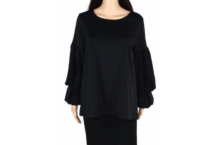 Alfani Women's Blouse Solid Black Size Large L Double Bubble Sleeve