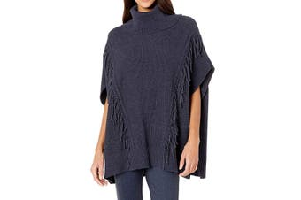 Anne Klein Women's Sweater Blue Size Medium S/M Poncho Turtleneck