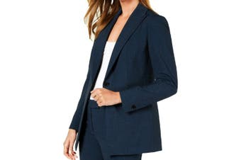Anne Klein Women's Blazers Blue Size 10 Notched-Collar One-Button