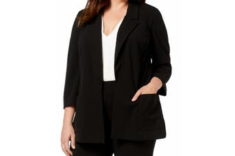 Nine West Women's Jacket Black Size 2X Plus Notched-Collar Flyaway