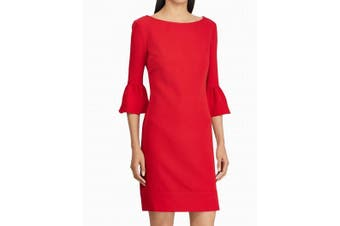 American Living Women's Dress Red Size 4 Sheath Bell-Sleeve Crepe